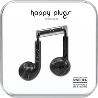 Happy Plugs Earbuds Plus with Mic, Black Marble