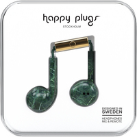 Happy Plugs Earbuds Plus with Mic, Green Marble