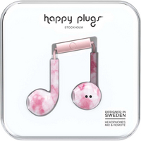 Happy Plugs Earbuds Plus with Mic, Pink Marble