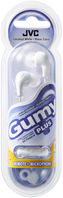 JVC Gumy Plus HAFX65MA Inner Ear Earbud Headphones with Mic in White