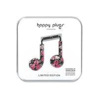 Happy Plugs Earbuds Plus with Mic, Vintage Roses