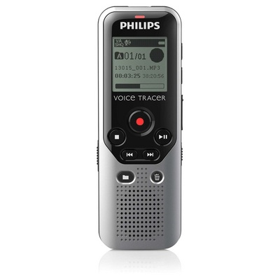 Philips Digital Voice Tracer Recorder 1200 with Display in Silver and Black