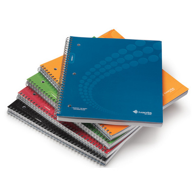 LIVESCRIBE ANA00017,Dot Matrix Wirebound  Ruled Notebook #14,  8.5x11, Asst PK4
