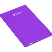 iHome Slim Charge Power bank, Purple, 4000mAH
