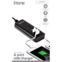iHome 4 Port USB Multi Charge Hub Black