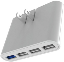 iHome AC Pro 4 Port USB Slim Wall Charger, White, 5.4A