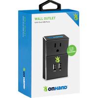 On Hand Dual USB Port Wall Outlet Black