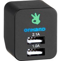 On Hand Dual USB Wall Charger,  Black, Black
