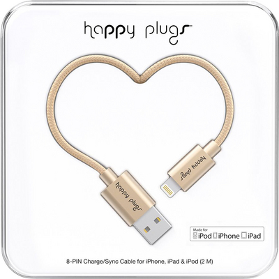 Happy Plugs Charge & Sync Cable, Matte Gold