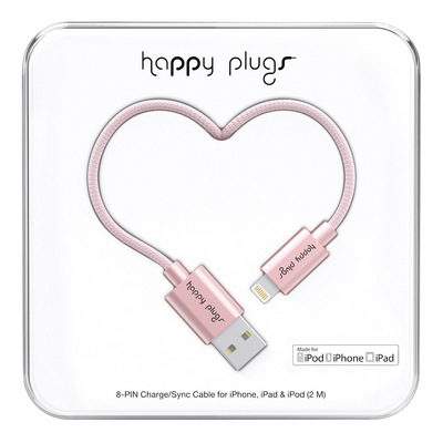 Happy Plugs Charge & Sync Cable, Pink Gold