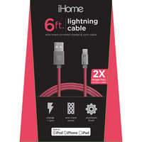 LIFE IHCT1044R MESH LTNG Cable RED 6FT 1PK