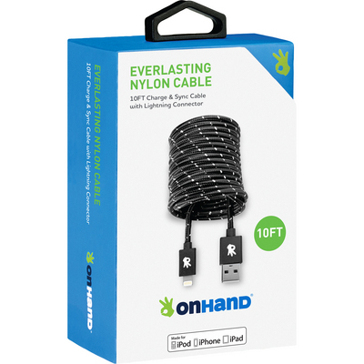 OnHand Everlasting Nylon Sync & Charge Cable, 10ft, Black