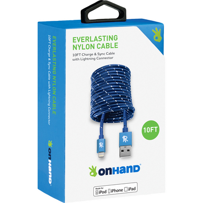 OnHand Everlasting Nylon Sync & Charge Cable, 10ft, Blue