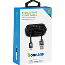 OnHand Everlast Nylon Lightning Cable 5ft Black