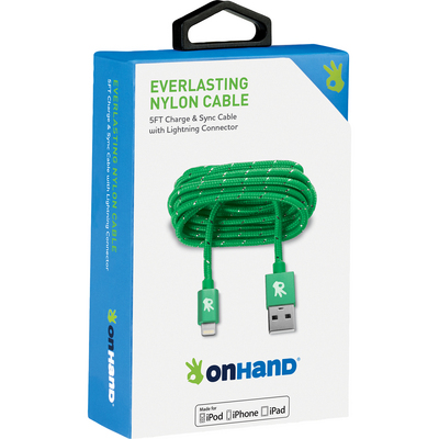 OnHand Everlasting Nylon Sync & Charge Cable, 5ft, Green