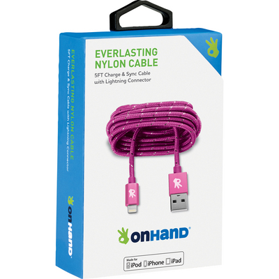 OnHand Everlasting Nylon Sync & Charge Cable,  5ft,  Pink, Pink