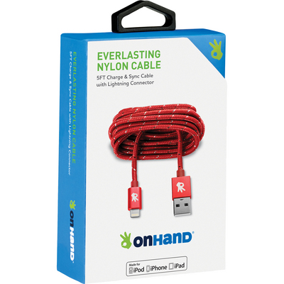 OnHand Everlasting Nylon Sync & Charge Cable,5ft,Red