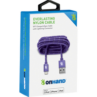OnHand Everlasting Nylon Sync & Charge Cable, 5FT,Purple