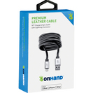 OnHand Premium Leather Sync & Charge cable, Black 5 ft