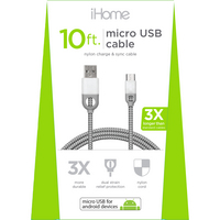 iHome Dual SR Nylon 10ft Micro Cable White