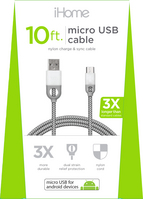 iHome Nylon micro USB Charge and Sync cable, White, 10 ft