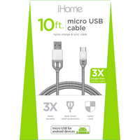 iHome Nylon Micro USB Charge and Sync Cable,10ft,White