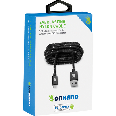 OnHand Everlast Nylon Micro USB Sync & Charge Cable 5ft Black