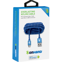 OnHand Everlast Nylon Micro USB Sync & Charge Cable 5ft Blue