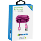 OnHander Everlast Nylon Micro USB Cable 5ftPink