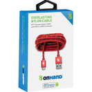 OnHand, Everlast Nylon Micro USB Cable 5ft, Red