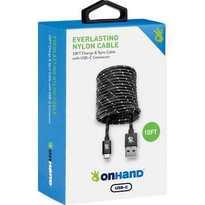 OnHand Everlast Nylon TypeC Cable 10ft Black