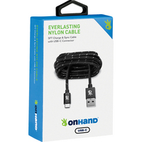OnHnad Everlasting Nylon Sync & Charge Cable  5ft, Black