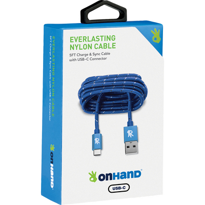 OnHand Everlasting Nylon Sync & Charge Cable, 5ft, Blue