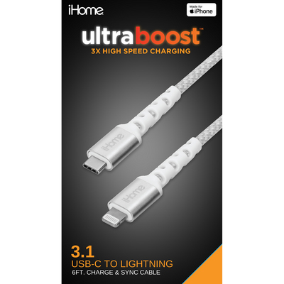 iHome  Dura Lightning to USBC Cable 6Ft White