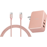 iHome MacBook Pro USBC Wall Charger and Cable, 6ft, Rose Gold
