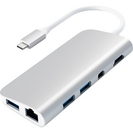 Satechi Aluminum TypeC Multimedia Adapter, 4.375 x 8.125 x 1in, Silver