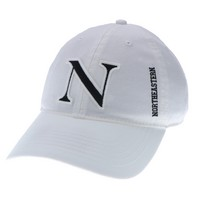 Unstructured washed twill cap with raised embroidered Northeastern University, 100% Cotton. A Northeastern classic look.! Click photo to view other possible graphic options.