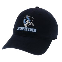 Unstructured washed twill cap with raised embroidered Johns Hopkins University logo 100% Cotton. Wear your JHU spirit! Click photo to view other possible graphic options. Imported.