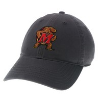 Unstructured washed twill cap with two location raised embroidered University of Maryland, 100% Cotton. Maryland pride times two! Click photo to view other possible graphic options.