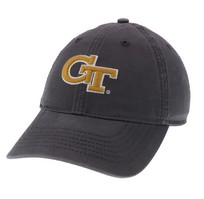 Unstructured washed twill cap with two location raised embroidered Georgia Institute of Technology 100% Cotton. Show your Georgia Tech pride! Click photo to view other possible graphic options. Imported.