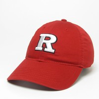 Unstructured washed twill cap with two location raised embroidered Rutgers University, 100% Cotton. Show your Rutgers pride! Click photo to view other possible graphic options.