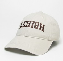 Unstructured washed twill cap with two location raised embroidered Lehigh University 100% Cotton. Show your Lehigh pride! Click photo to view other possible graphic options.