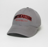 Unstructured washed twill cap with two location raised embroidered Northeastern University, 100% Cotton. Show your Northeastern pride! Click photo to view other possible graphic options.