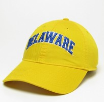 Unstructured washed twill cap with raised embroidered University of Delaware 100% Cotton. Wear your Delaware spirit! Click photo to view other possible graphic options. Imported.