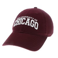 Unstructured washed twill cap with raised embroidered University of Chicago, 100% Cotton. Wear your Chicago spirit! Click photo to view other possible graphic options.