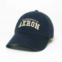 Unstructured washed twill cap with raised embroidered University of Akron logo 100% Cotton. Wear your Akron spirit! Click photo to view other possible graphic options. Imported.