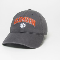 Unstructured washed twill cap with raised embroidered Clemson University 100% Cotton. Wear your Clemson spirit! Click photo to view other possible graphic options. Imported.