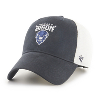 The 47 MVP has a structured crown, a curved visor, and an adjustable Velcro closure. The front is decorated with raised embroidery and the back has flat embroidery on the strap.