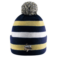LogoFit Primetime Striped Cuff Hat With Pom