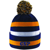 LogoFit Primetime 3 Color Striped Knit Cuff Winter Hat With Pom